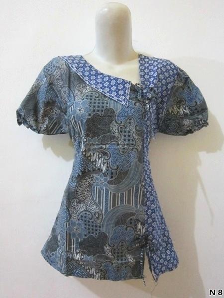 Model Atasan Batik Wanita Lengan Pendek Bahan Katun