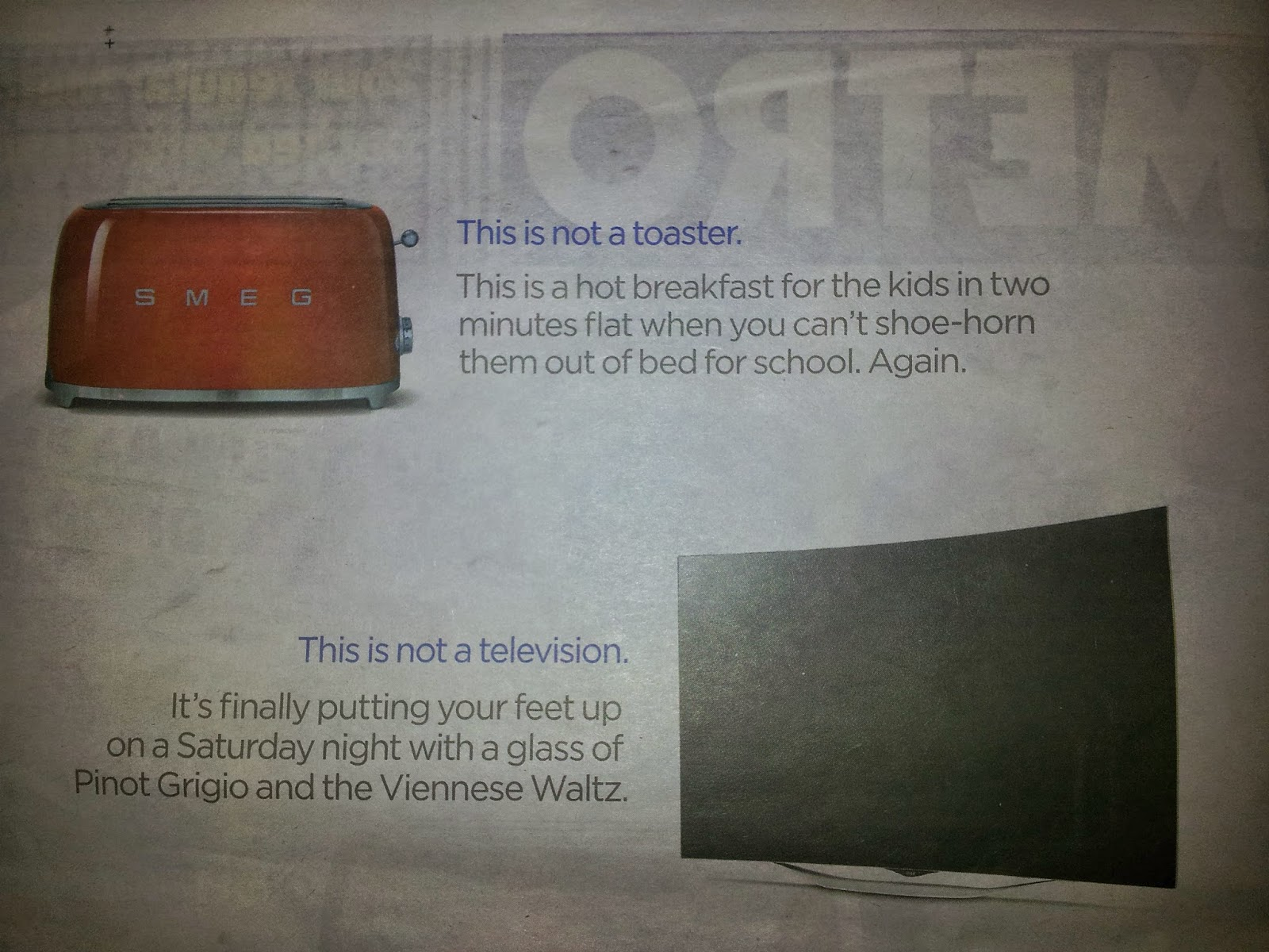 "Part of the Currys newspaper advert, showing the toaster - ""This is not a toaster, it's..."""