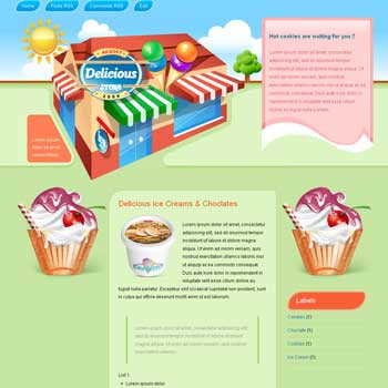 Delicious Store 3 Column Blogger Template. image slider blogger template. 3 column footer template blog. recipe and cooking blogger template