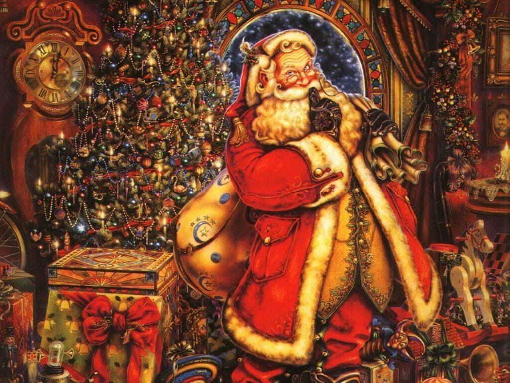 Santa y el árbol de Navidad