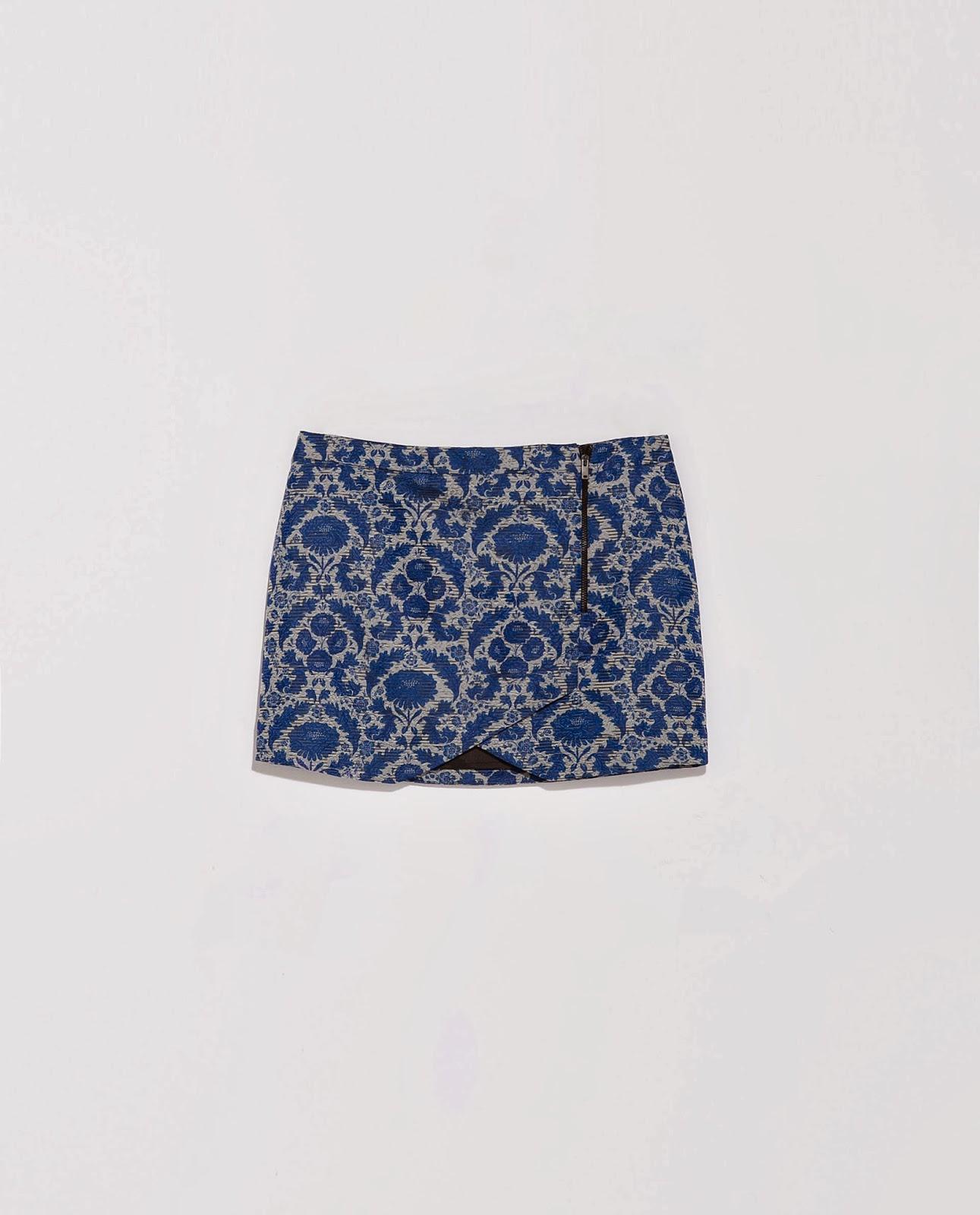 Falda estampada azul Zara