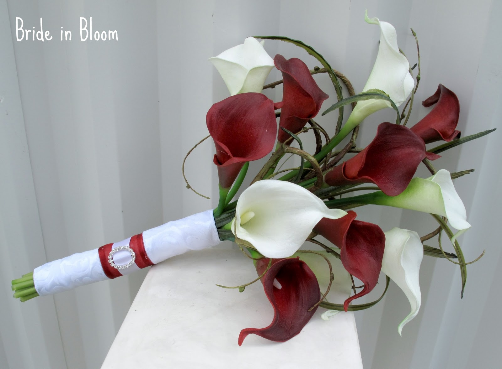 Bride in Bloom: Red & white calla lily bridal bouquet set