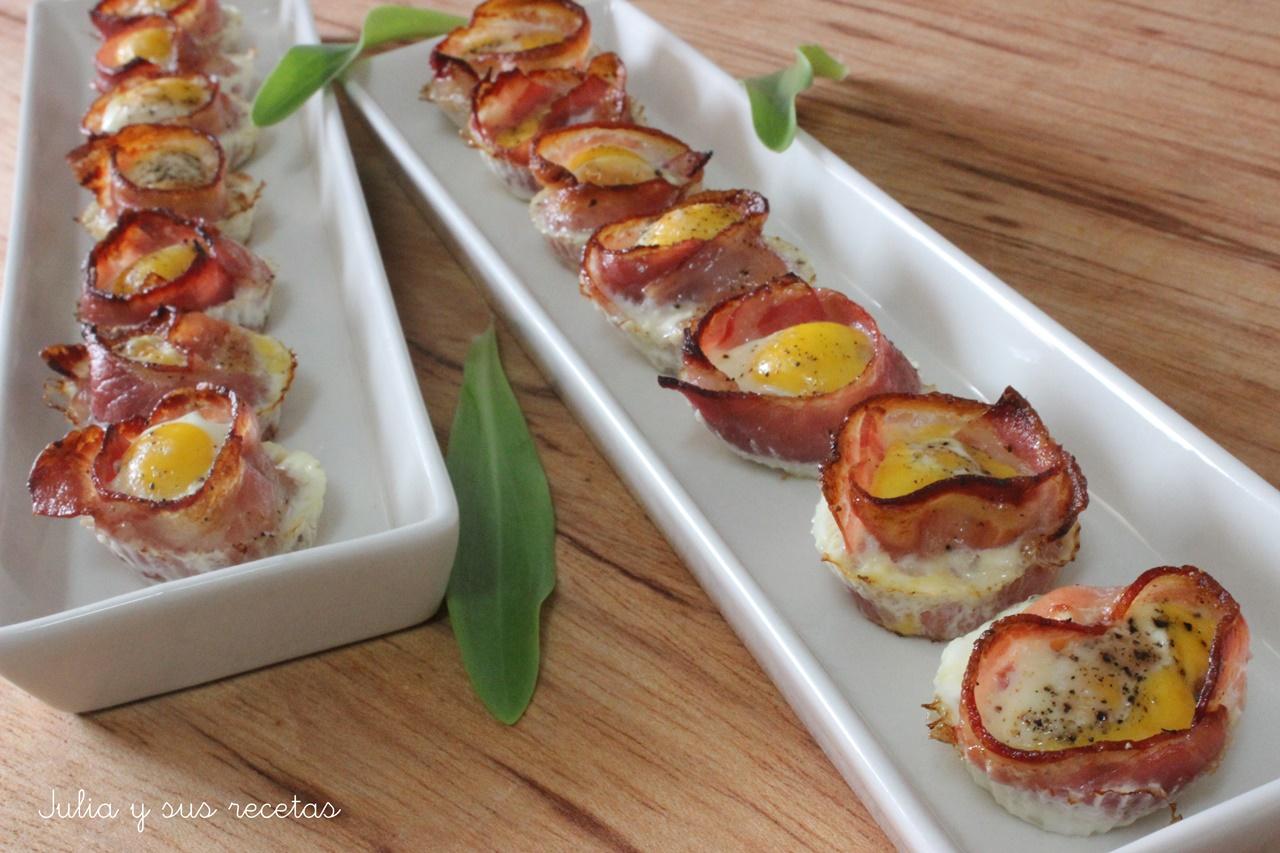 Tartaletas de bacon y huevo de codorniz for Canapes faciles y ricos