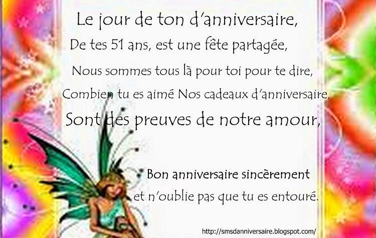 Sms D Anniversaire Pour 51 Ans