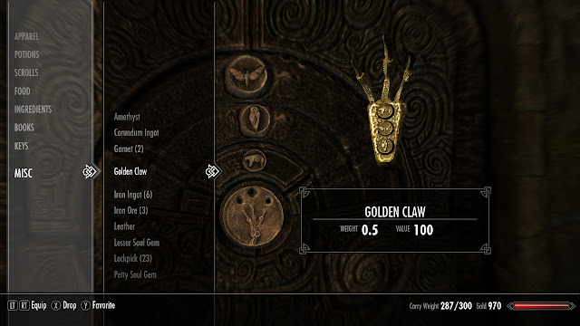 Skyrim golden claw puzzle