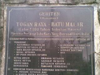 Geriten(monumen) Togan Raya - Batu Malar