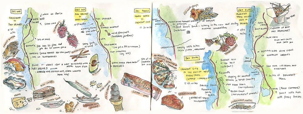 Here Is A Day By Day Map Of The Biking Tour Along With The Food We Consumed To Power Us Up The Coastal Hills