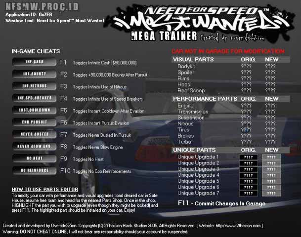Need For Speed: Most Wanted Trainer & Trainers- GameBurnWorld