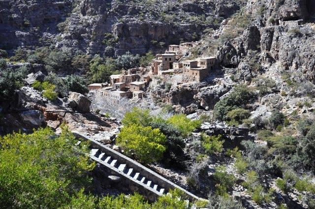 Left of ancient settlement in Wadi Bin Habib, Jebel Akhdar, Oman