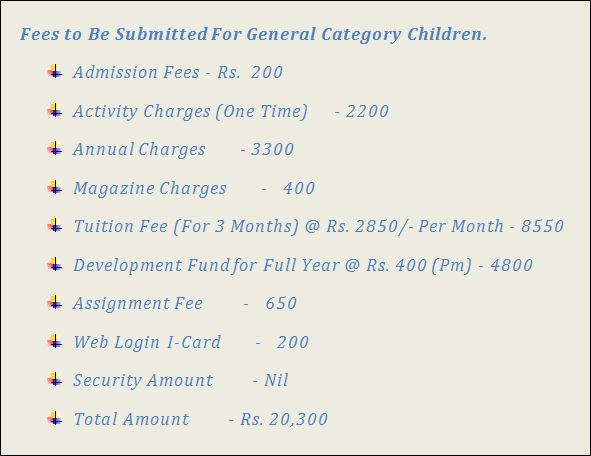 Adarsh Public School Vikas Puri Fees Structure