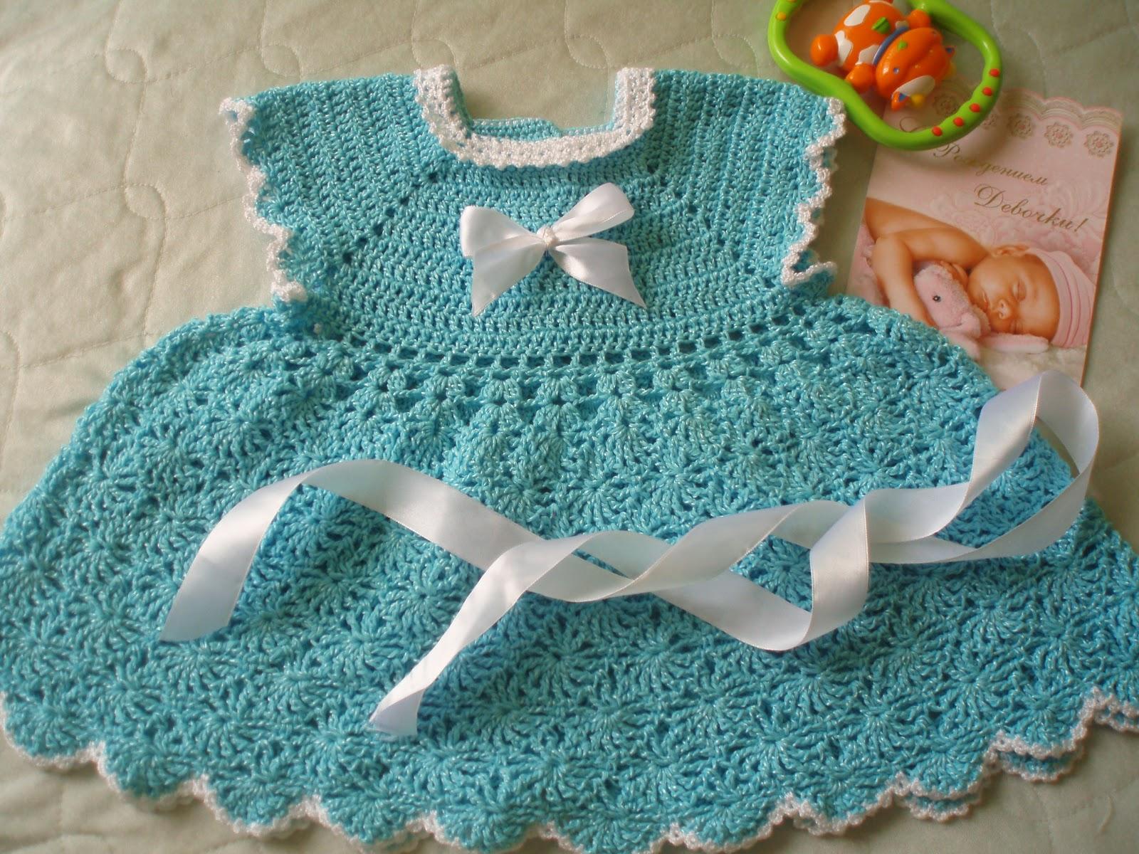 Зеленое платьице крючком - Вязание крючком для детей