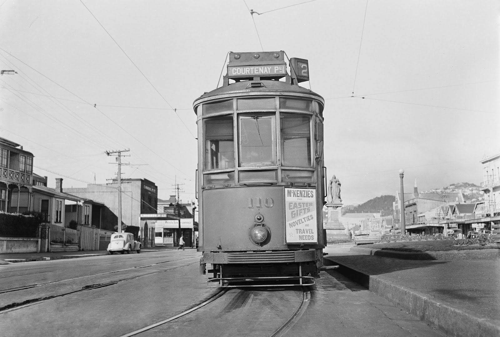 transpress nz wellington tram on kent terrace 1950