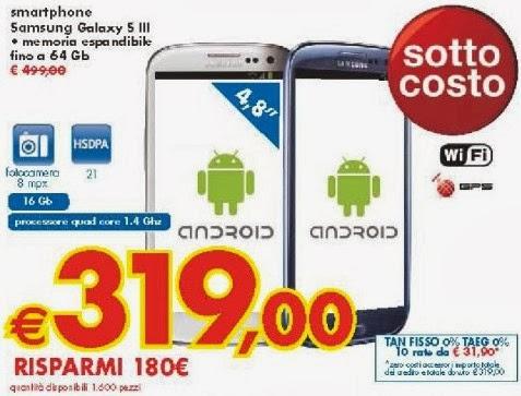 Offerta unica da Panorama che propone il prezzo sottocosto e il finanziamento a tasso zero sul Galaxy S3
