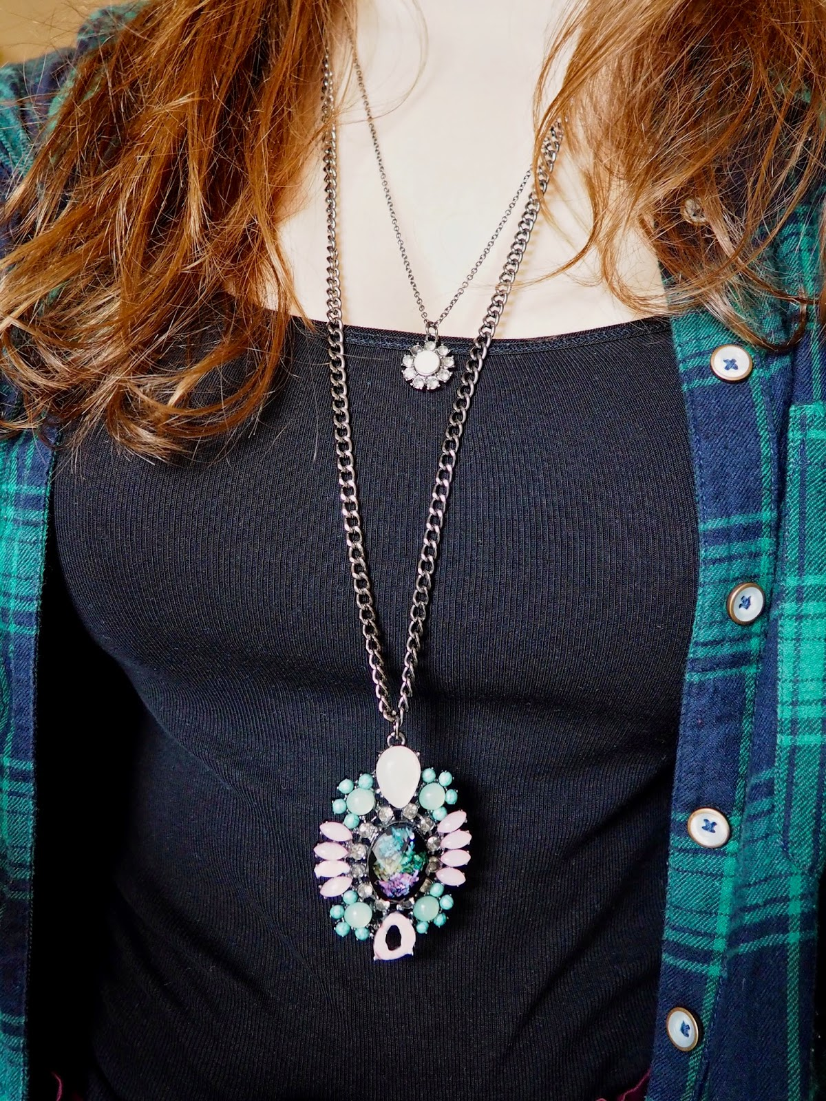 Statement Pieces outfit jewellery details | chunky layered flower shaped necklaces, with green, blue and pink jewels and stones