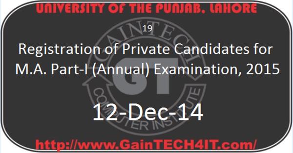 Punjab University M.A. Part-I Admissions