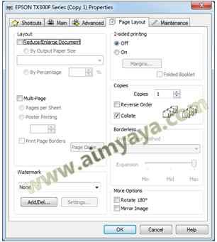 Gambar: Menghilangkan tanda cek pada opsi pencetakan yang dapat merubah hasil print out