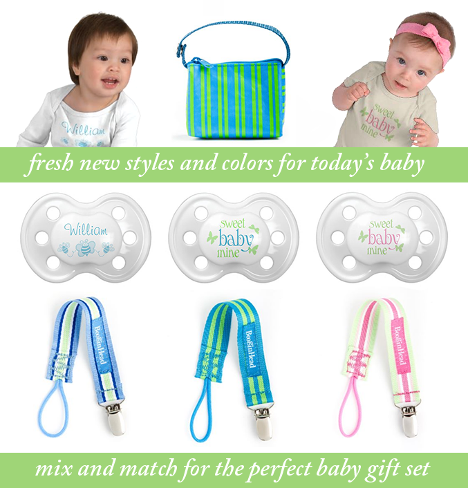 SweetyBaby Fresh New Styles for Today's Baby - Mix and Match for the Perfect New Baby Gift Set - Custom Pacifiers, Personalized Infant and Toddler Clothing