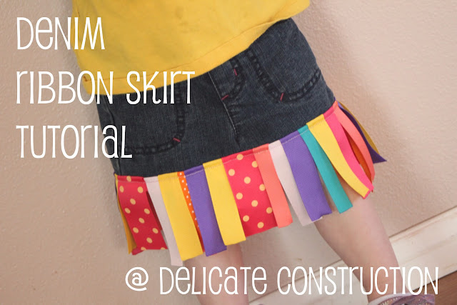 denim ribbon skirt tutorial