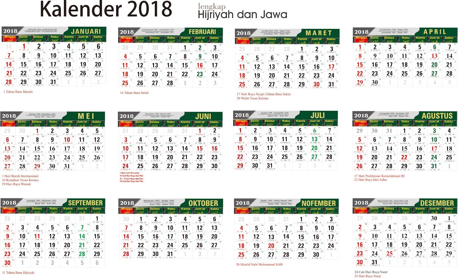Download Kalender 2018 Lengkap Jawa Arab Sman 1 Tumijajar
