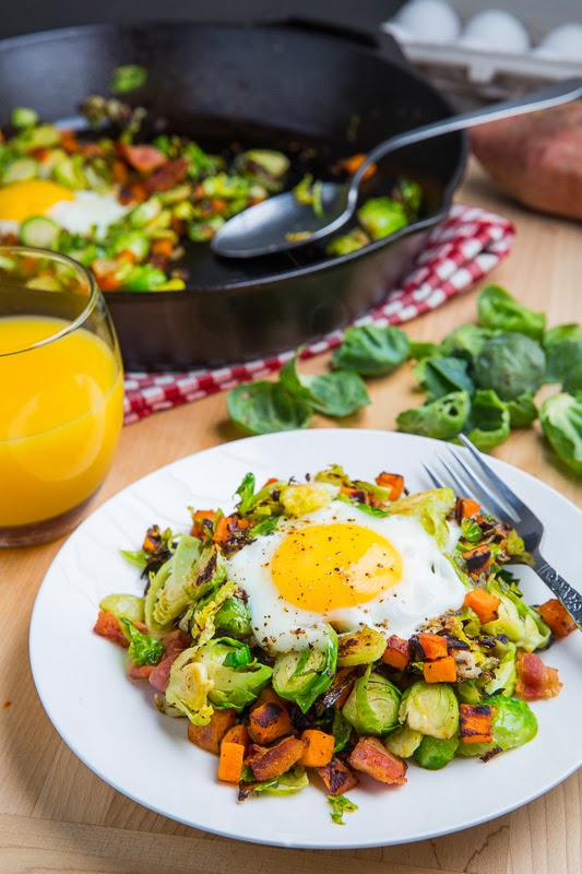 Brussels Sprout Hash with Sweet Potato and Bacon on Closet Cooking