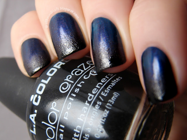 nails nailart nail art polish mani manicure Spellbound OPI Best of the Best mini collection Russian Navy indigo blue shimmer magenta Lincoln Park After Dark purple eggplant deep dark LA Colors black gradient fail sponge sponged Seche Vite Dry Fast Top Coat