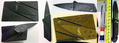 Knives Discovered at (L-R) EWR, SJC,   LAX, EWR, LGB