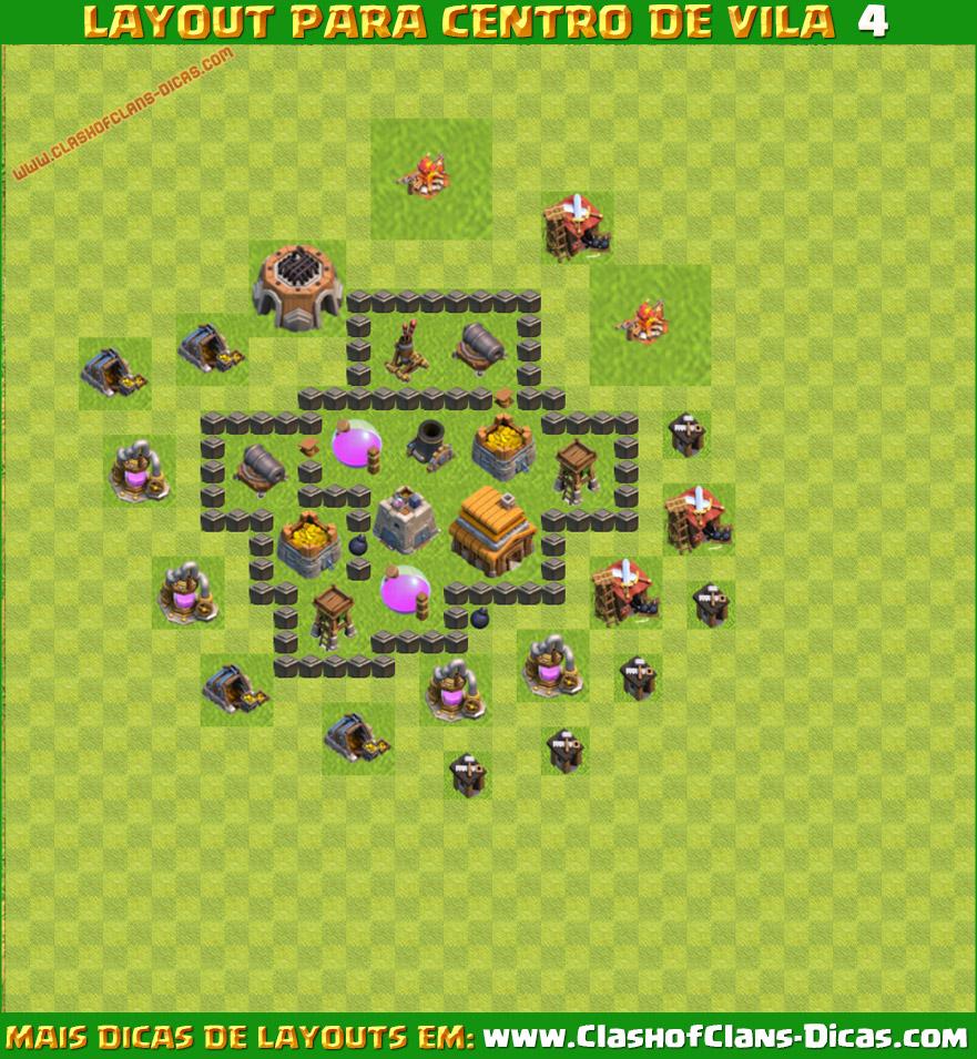 dicas de melhores layouts para centro de vila 4 - Layout Cv 4 Guerra