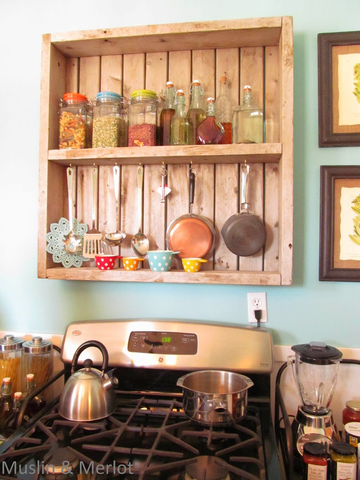 Use a Salvaged Wood box & little hooks for extra shelving and organizing.