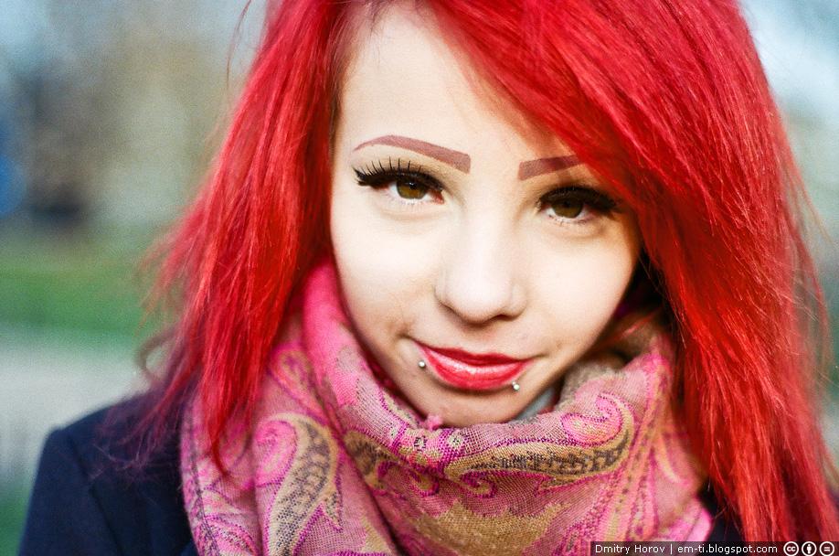 фото, портрет, лицо, плёнка, девушка, лицо, красные волосы, губы пирсинг