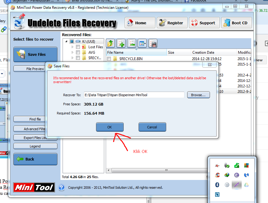 Konfirmasi recovery MiniTool Power Data Recovery 6.8