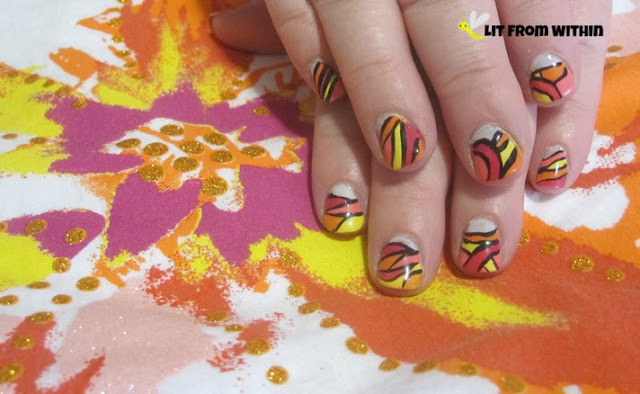 the colors and abstract nature of the shirt pattern are reflected, but not copied, in my mani