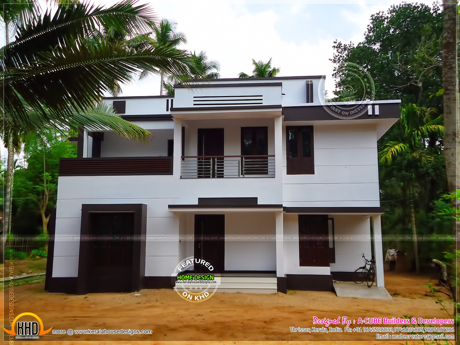 Modern finished house in kerala kerala home design and for Modern house front view