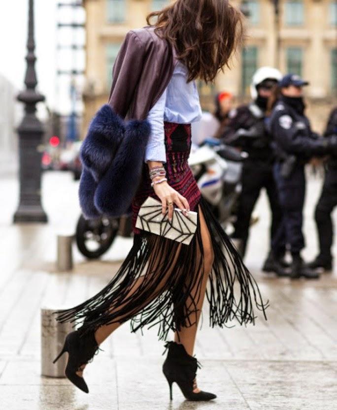nyfw street style - fringe skirt