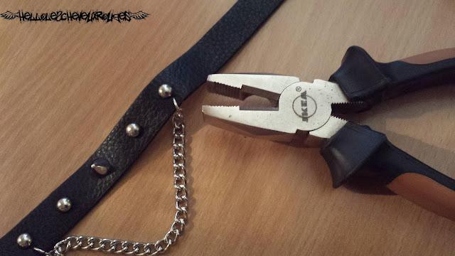 Collier ras de cou gothique pics et chaîne avec une pince universelle www.hellolescheveuxrouges.com