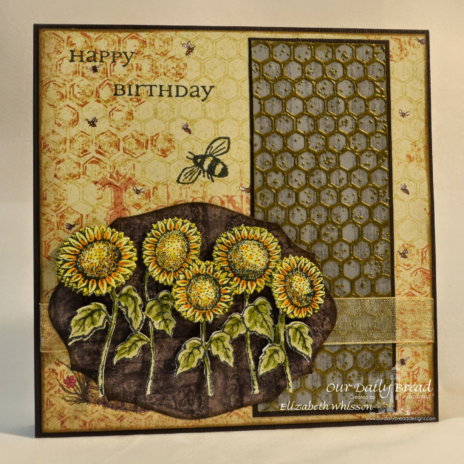 designed by Elizabeth Whisson, Our Daily Bread Designs, Harvest Blessings, Zinnia, All Occasion Sentiments, Honeycomb background, sunflowers die, elegant ovals dies, Blooming Garden Paper Collection, copics, handmade card, embossing