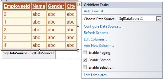 asp.net gridview sort