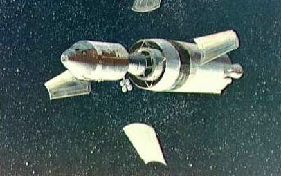 Panels moving alongside the spacecraft floating in free fall