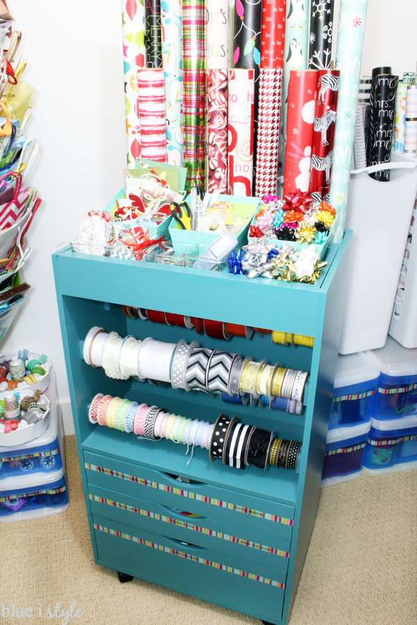 organizing with style an organized gift wrap closet blue i style