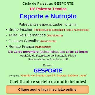 """Palestra """"Esporte e Nutrição"""" - INSCREVA-SE GRATUITAMENTE"""