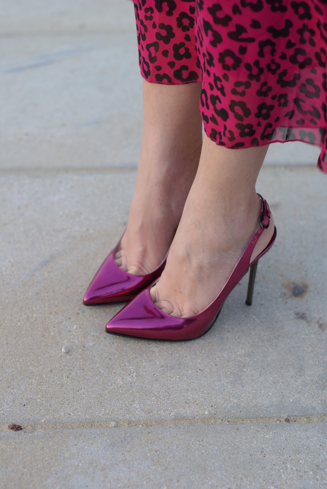 pink pumps, metallic pink slingbacks, Michele Muzi, Fashion and Cookies fashion blog