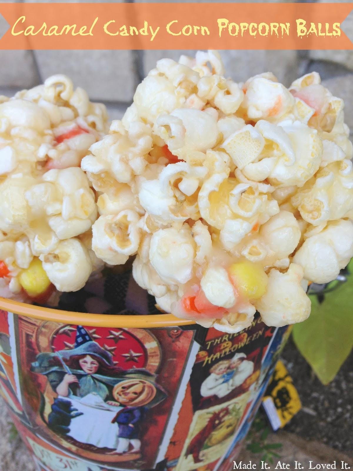 Made It. Ate It. Loved It.: Caramel Candy Corn Popcorn Balls