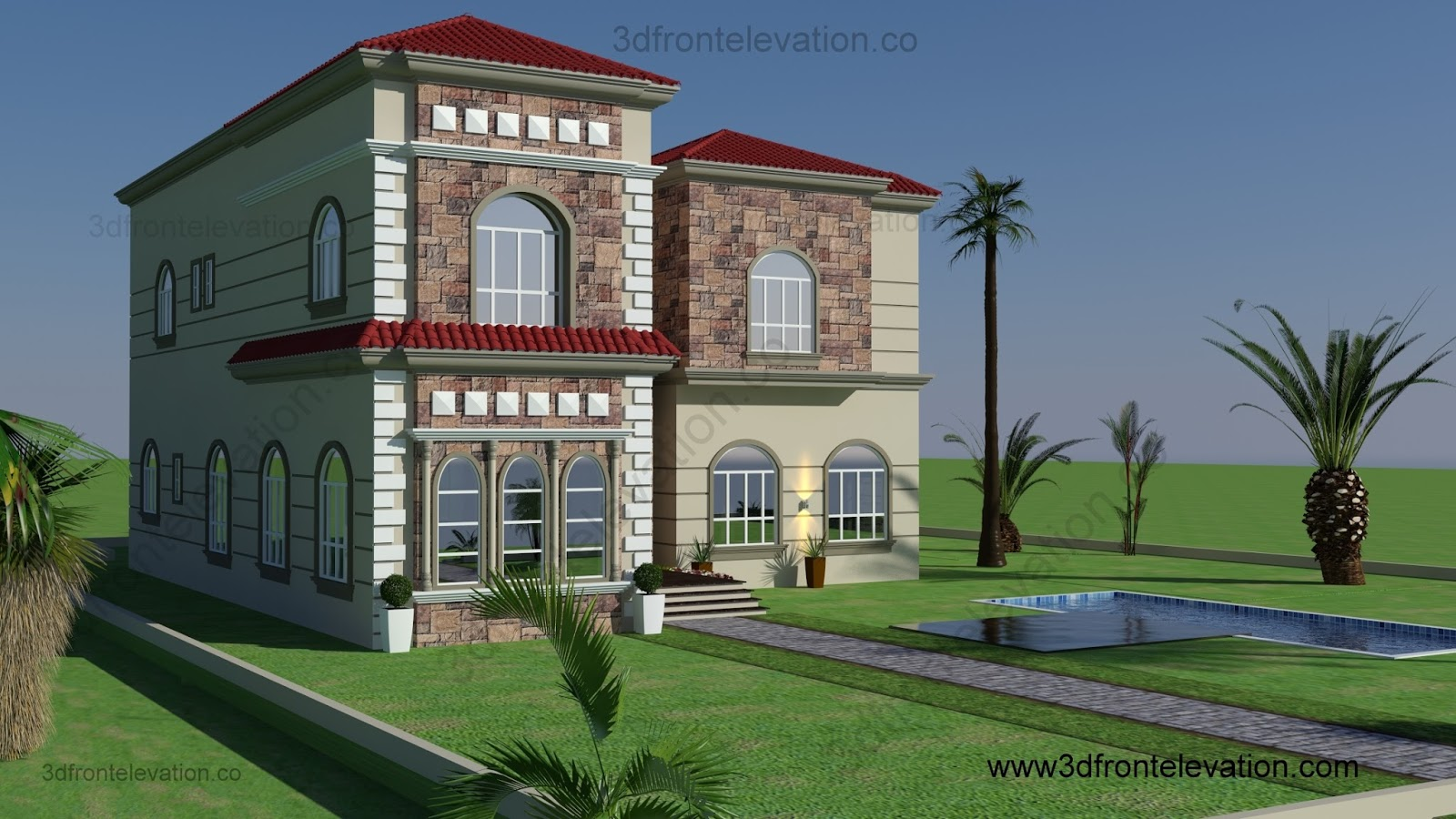 3d front oman for Beautiful villas images