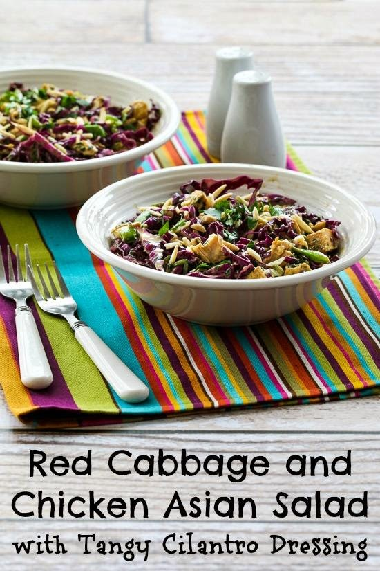 Red Cabbage and Chicken Asian Salad Recipe with Tangy Cilantro Dressing (Low-Carb, Gluten-Free) found on KalynsKitchen.com