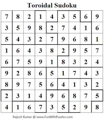 Toroidal Sudoku (Daily Sudoku League #110) Solution