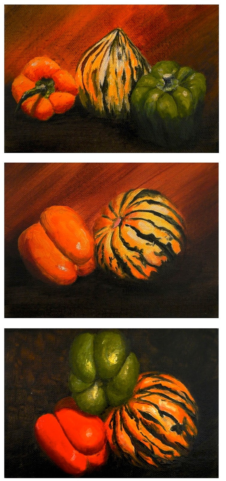 a triptych of Autumnal paintings of peppers and squash. a still life painting by Karen Robinson