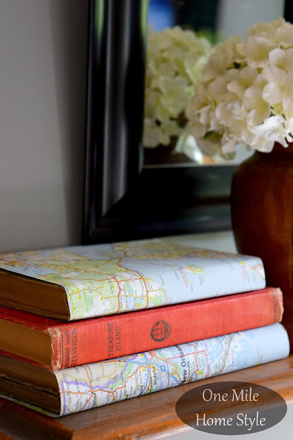 DIY Map Page Book Covers - One Mile Home Style