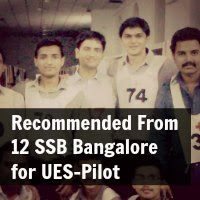 Recommended From 12 SSB Bangalore for UES-Pilot