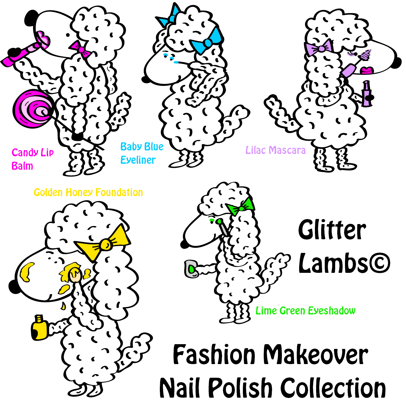 "Glitter Lambs ""Fashion Makeover"" Glitter Topper Nail Polish Collectoin"