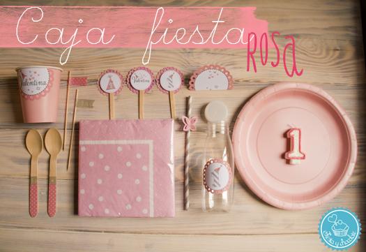 caja fiesta rosa cumpleaños 1 año