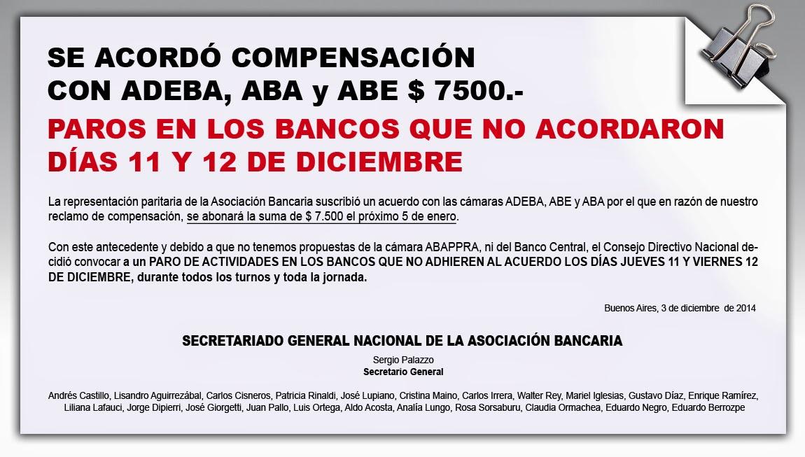 Acuerdo con ADEBA, ABE y ABA